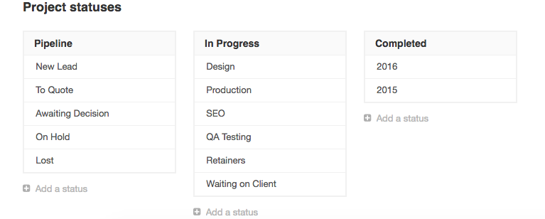 Setting custom project statuses in Roll