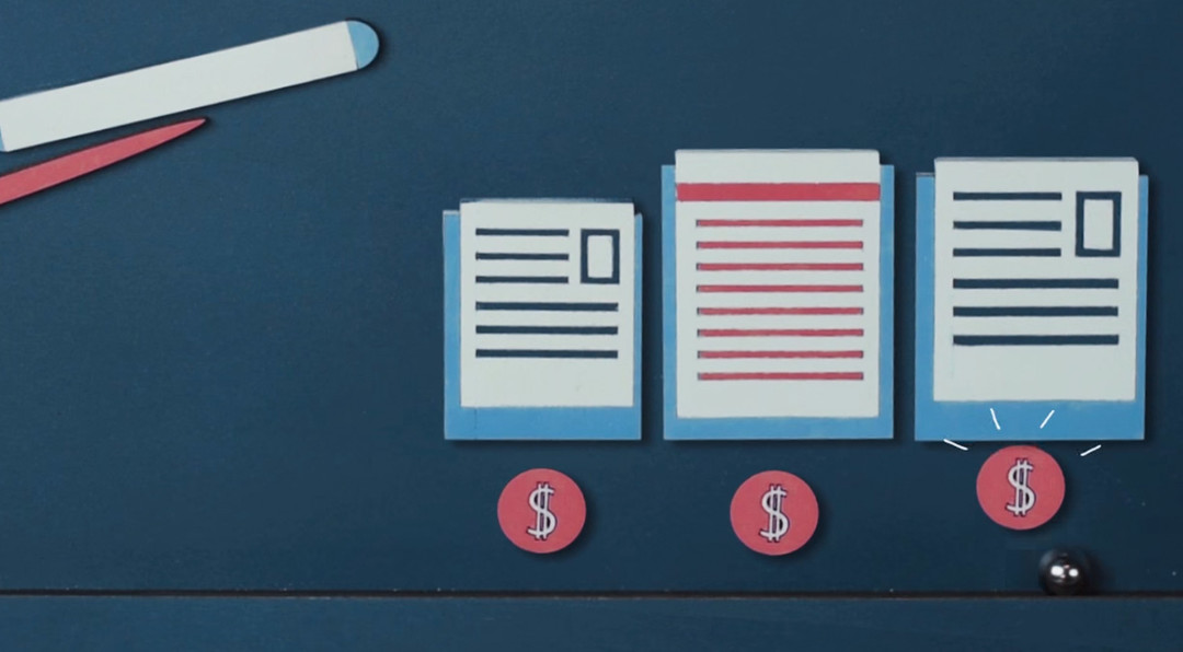 Illustration of different size files sitting on a desk with dollar sign symbols underneath