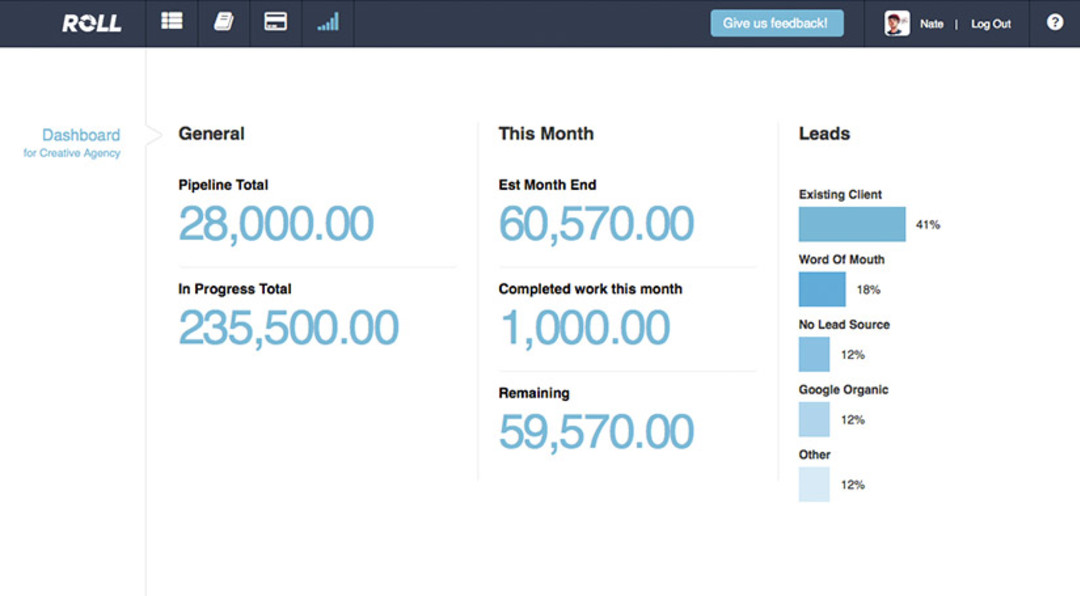 Screenshot of the roll software showing how the system can track your cash flow